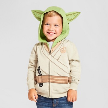 Toddler Boy's Star Wars Yoda Costume Hoodie - White