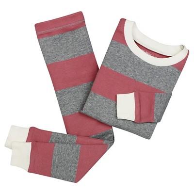 Baby Girls' Burt's Bees Baby Rugby Stripe Organic Cotton Tight Fit 2-Piece Pajama Set Primrose Pink 12M