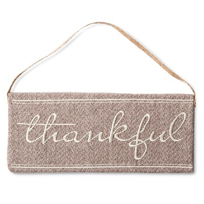Harvest Thankful Tweed Hanging Sign