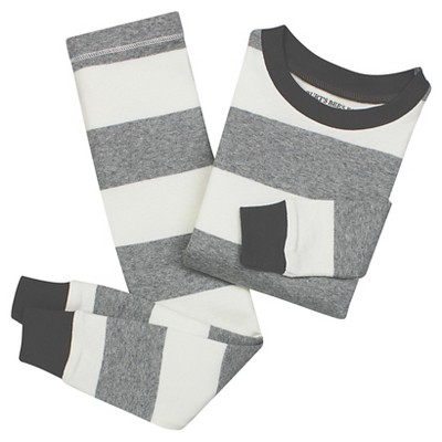 Toddler Boys' Burt's Bees Baby Rugby Stripe Organic Cotton Tight Fit 2-Piece Pajama Set Heather Grey