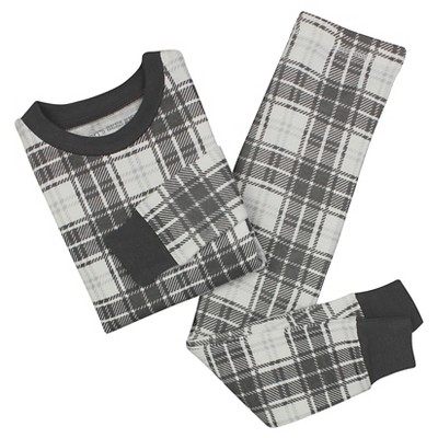 Toddler Boys' Burt's Bees Baby Plaid Organic Cotton Tight Fit 2-Piece Pajama Set Charcoal