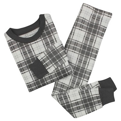 Baby Boys' Burt's Bees Baby Plaid Organic Cotton Tight Fit 2-Piece Pajama Set Charcoal