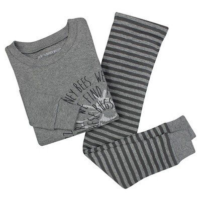 Baby Boys' Burt's Bees Baby Bullseye Bee Organic Cotton Tight Fit 2-Piece Pajama Set Heather Grey