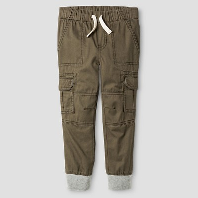 Toddler Boys' Woven Cargo Pant - Olive Green 3T - Cat & Jack™