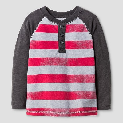 Toddler Boys' Stripe Henley Shirt - Red & Gray 3T - Cat & Jack™