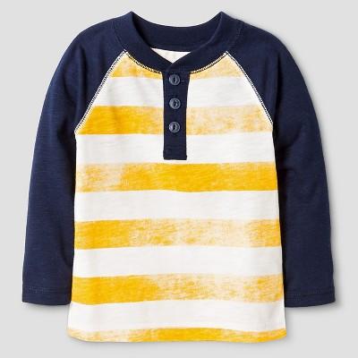 Baby Boys' Stripe Henley Shirt - Pharaoh Gold 12 M - Cat & Jack™