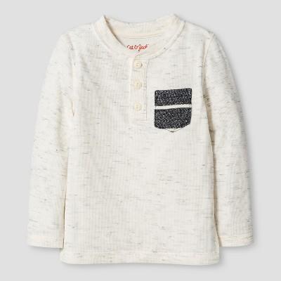 Toddler Boys' Stripe Henley T-Shirt - Cat & Jack™ - Cream White 2T