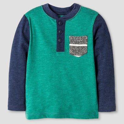 Toddler Boys' Henley T-Shirt - Cat & Jack™ - Bermuda Vine 2T
