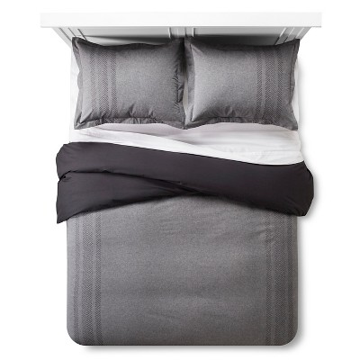 Arrow Embroidered Chambray Duvet Cover & Sham Set (Full/Queen) Black - Threshold™