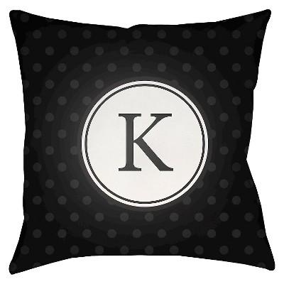 "Surya Treasured Friendship Kappa Pillow - Black (18"" x 18"")"