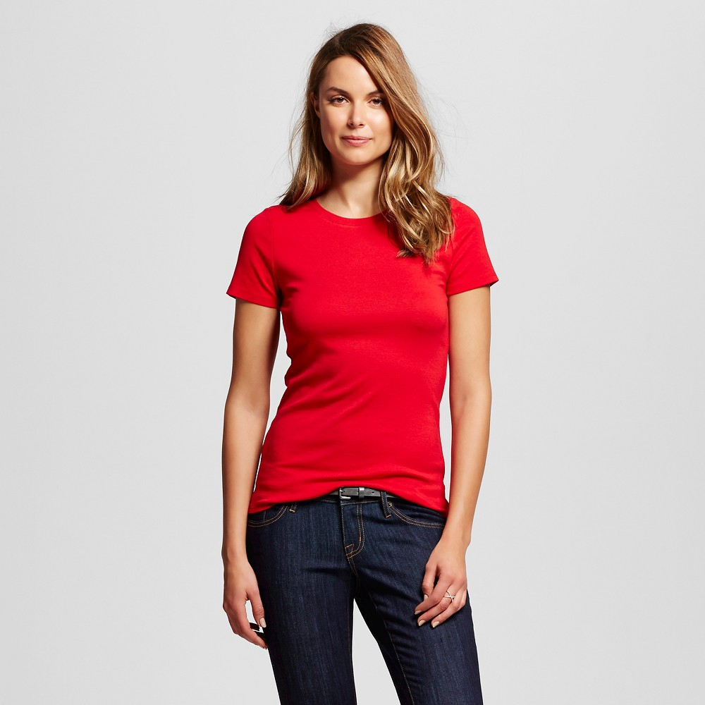 Women's Crew Tee Red L - Merona, Size: Large, Red Pop