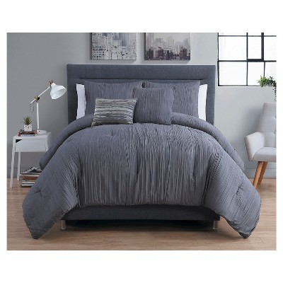 Crinkle Comforter King Gray 5 Piece - VCNY®