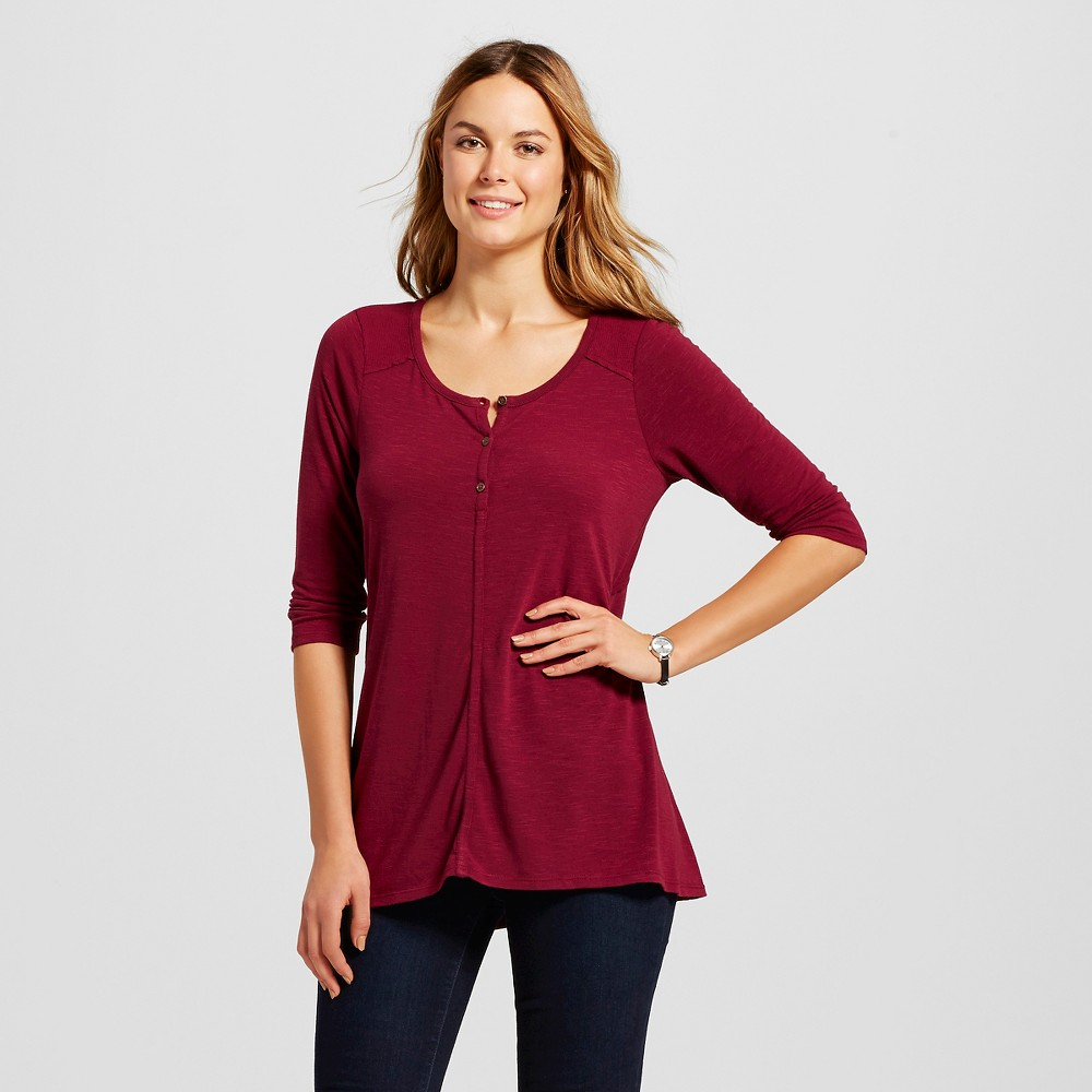 Women's Henley Knit Top with Rib Mix Burgundy (Red) Xxl - Knox Rose
