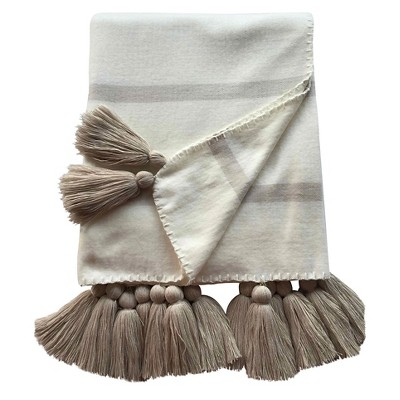 Striped Tassle Throw Blanket Ivory - Nate Berkus™