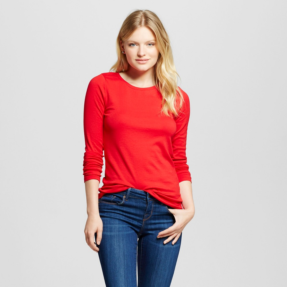 Women's Long Sleeve Crew Tee Red XL - Merona, Red Pop
