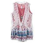 Girls' Multi Print Romper with Crochet Vest - S White