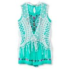 Girls' Embroidered Romper with Crochet Vest - S Cockatoo