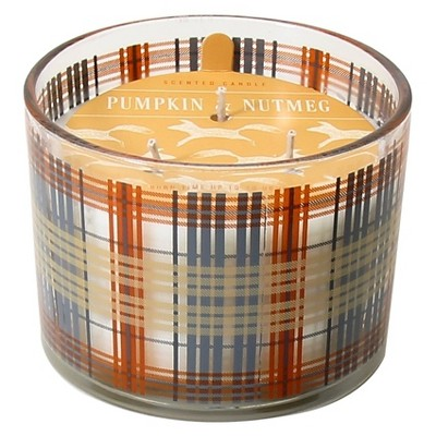 Harvest Candle in Plaid - Pumpkin