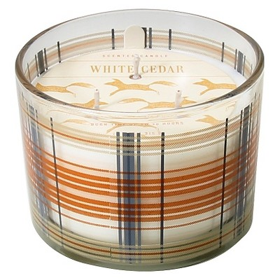 Harvest Candle in Plaid - Woodsy