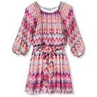 Lots Of Love By Speechless Girls' Chevron Print Peasant Dress Fuchsia/Lime 7