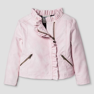Baby Girls' Ruffled Moto Jacket Pink 12M - Genuine Kids from Oshkosh™
