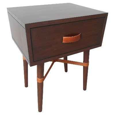 One Drawer Accent Table Dark Wood & Leather - Threshold™