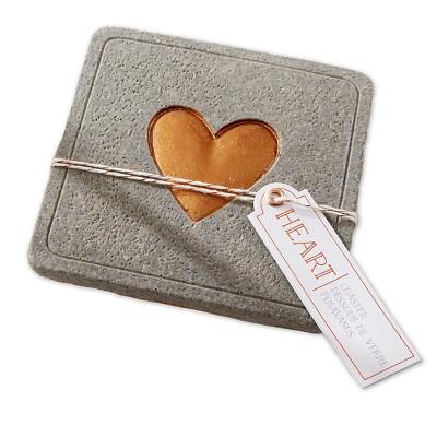 Copper Heart Concrete Coaster (Set of 12)
