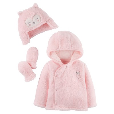 Baby Girls' Sherpa Owl Set Pink 3-6M - Just One You™Made by Carter's®