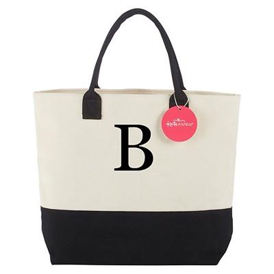 Tote Bag - Classic Monogrammed Black White - B