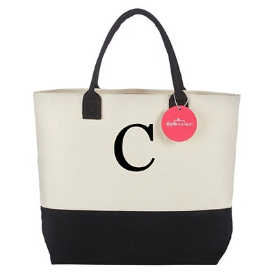 Tote Bag - Classic Monogrammed Black White - C