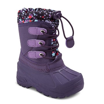 Toddler Girls' Cat & Jack™ Teri Star Print Cold Weather Boots - Purple