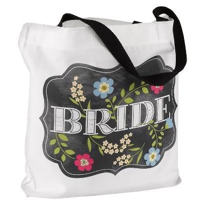 Chalkboard Floral Tote Bag - Bride