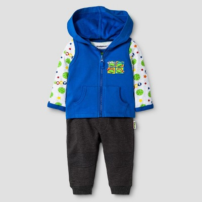 Teenage Mutant Ninja Turtle Baby Boys' Long-sleeve Bodysuit, Fleece Vest & Jogger Pant Set 3-6M