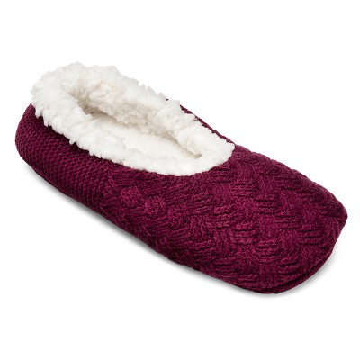 Women's Cable Knit Slipper Sock - Elegant Cherry M - Gilligan & O'Malley™