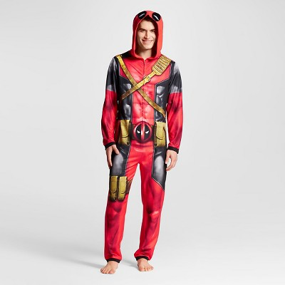 Men's Deadpool Hooded Union Suits Red - L