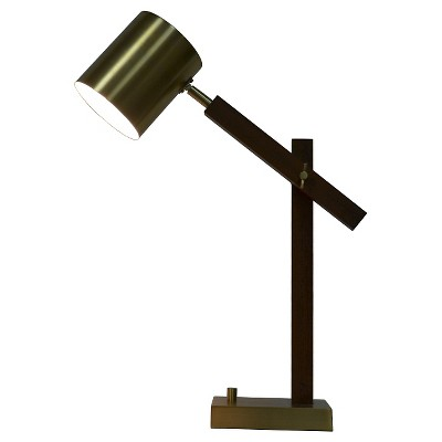 Dark Wood & Metal Task Lamp (Includes CFL Bulb) - Threshold™