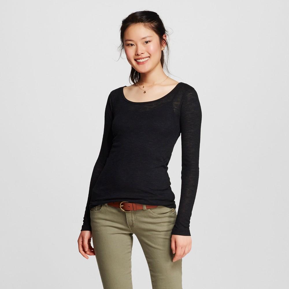 Women's Long Sleeve Rib Tee Black Xxl - Mossimo Supply Co. (Juniors')