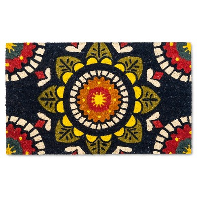 "Medallion Natural Rug - Navy - (1'6""x2'6"") - Evergreen"