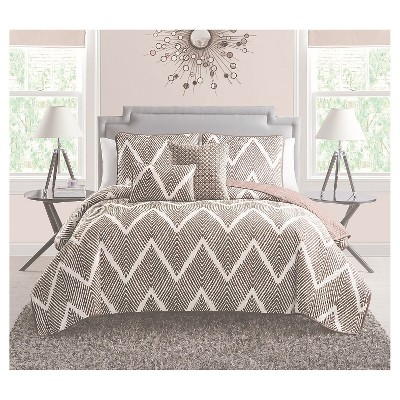Mela Chevron Quilt Set Full/Queen Chocolate&White 5 Piece - VCNY®