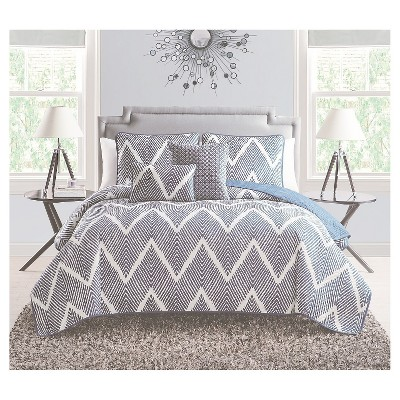 Mela Chevron Quilt Set King Navy&White 5 Piece - VCNY®