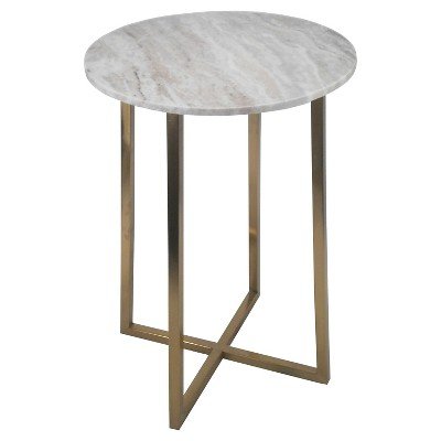 Circular Accent Table Brown/Marble/Gold - Threshold™