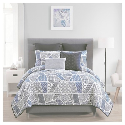 Ladera Quilt Set Full/Queen Blue&White 7 Piece - VCNY®