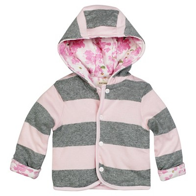 Burt's Beeds Baby Girls Hooded Reversible Jacket - Waterlily Blossom 6-9M