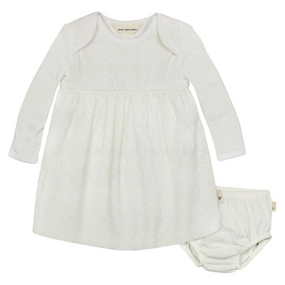 Burt's Bees Baby™ Girls' Organic Long-sleeve Crochet Dress and Diaper Cover Set - Ivory 0-3M