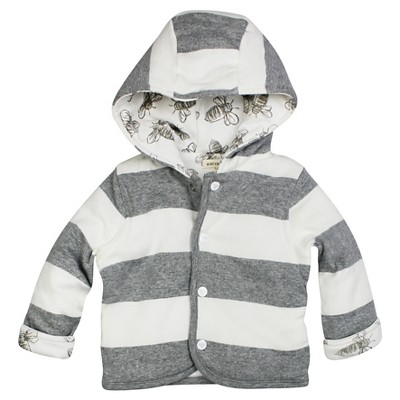 Burt's Bees Baby Boys Hooded Reversible Jacket - Grey Bee 3-6M