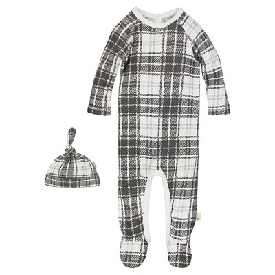 Burt's Bees Baby™ Boys' Organic Plaid Union Suit Coverall and Hat Set - Charcoal 0-3M