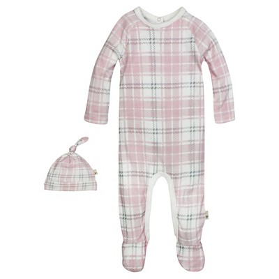 Burt's Bees Baby™ Girls' Organic Plaid Union Suit Coverall and Hat Set - Blossom 3-6M