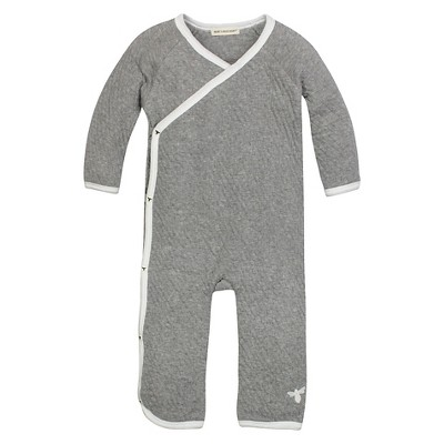 Burt's Bees Baby™ Boys' Organic Long-sleeve Quilted Kimono Coverall - Heather Grey 3-6M