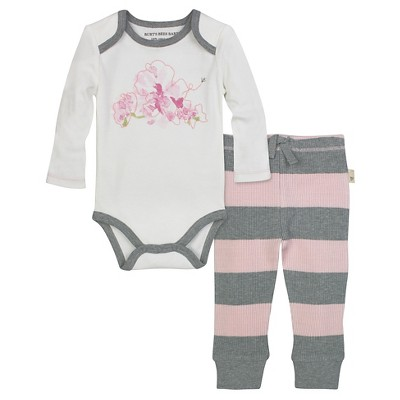 Burt's Bees Baby™ Girls' Long-sleeve Waterlily Bodysuit and Thermal Pant Set - Blossom 0-3M