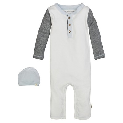 Burt's Bees Baby™ Boys' Long-sleeve Henley Coverall and Slouchy Hat Set - Vanilla Cream 6-9M